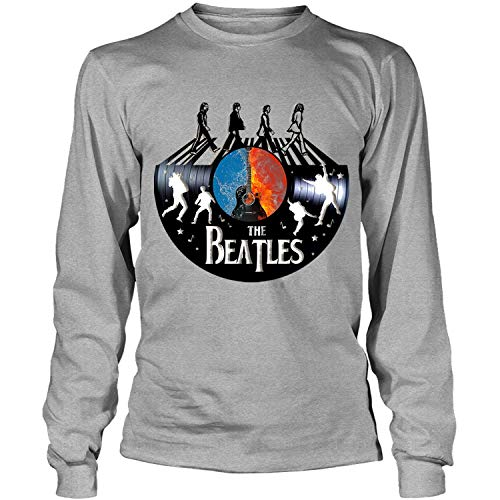 Vintage The Beatles Band Tee, English rock band Shirt, John Lennon, Paul McCartney - Long Sleeve Tees (S, Sport Gray) (Paul Mccartney Itunes Live From Capitol Studios)