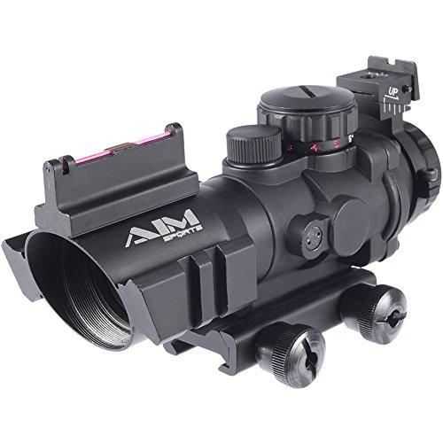 Evike AIM Airsoft Dual-Rail 4X32 Illuminated Compact Scope w/ Fiber Optics Sight Rapid Ranging Reticle - (36005) by Evike