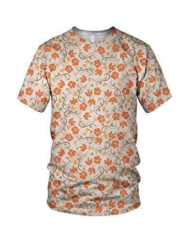 Estampado Entero Naranja Flores Moda Mujer Camiseta - sintético, Multicolor, 100% poliéster 100