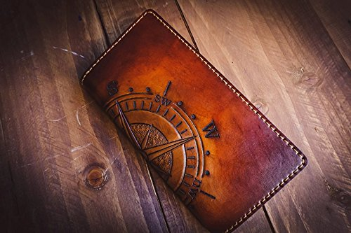 Men's 3D Genuine Leather Wallet, Long Travel wallet, Biker wallet, Hand-Carved, Hand-Painted, Leather Carving, Custom wallet, Personalized wallet, Compass