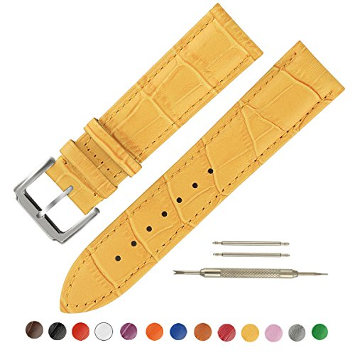 SIMCOLOR Leather Watch Band - Choice of Color & Width (16mm,18mm,20mm,22mm or24mm) Premium Genuine Cowhide Replacement Watch Strap for Men and Women(18mm,Yellow)