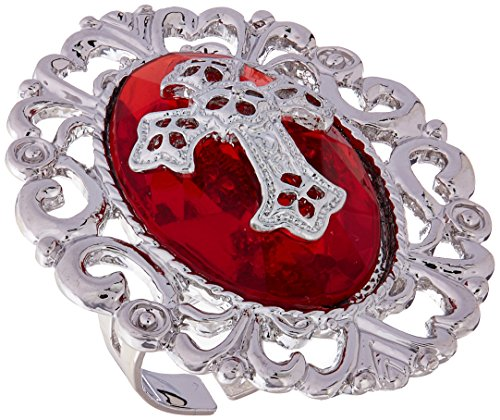 Rubie's Costume Blood Line Collection Gothic Cross Ring, Red, One Size (Sexy Male Vampire Costume)