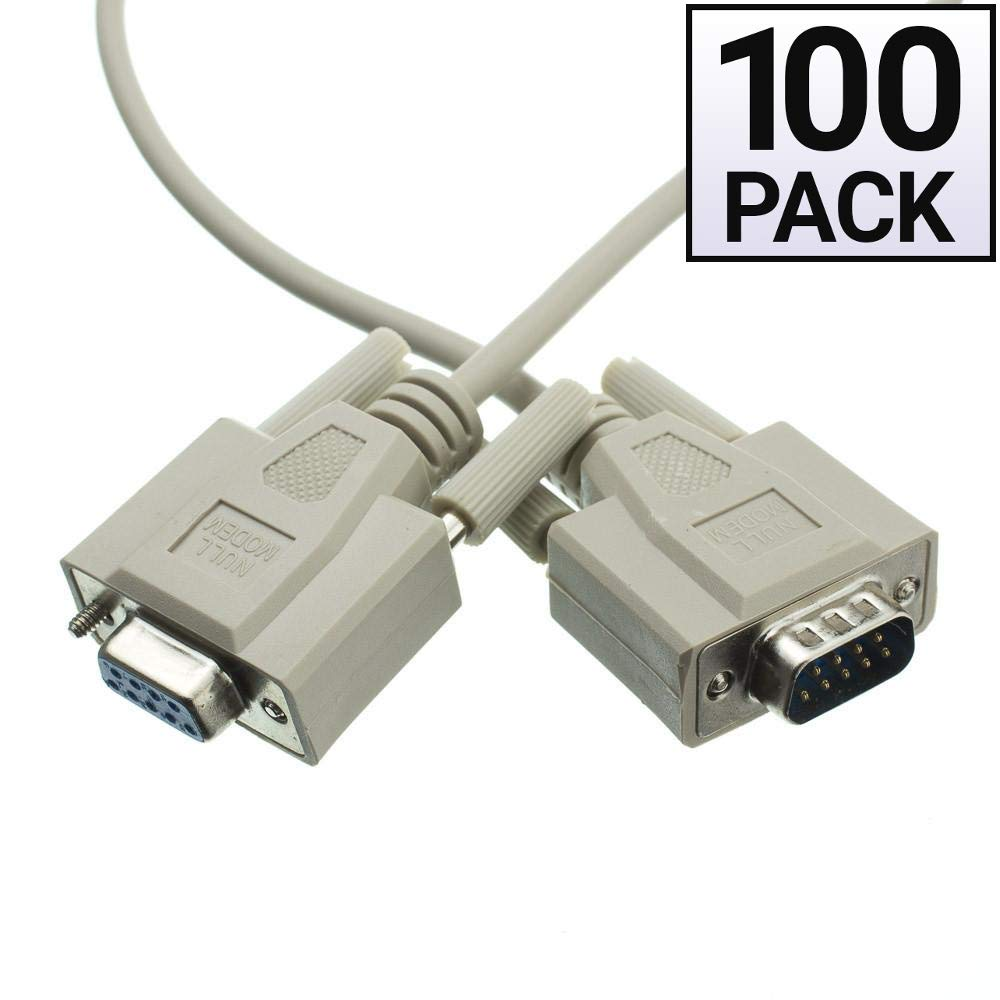 GOWOS (100 Pack) Null Modem Cable, DB9 Male to DB9 Female, UL Rated, 8 Conductor, 6 Feet by GOWOS