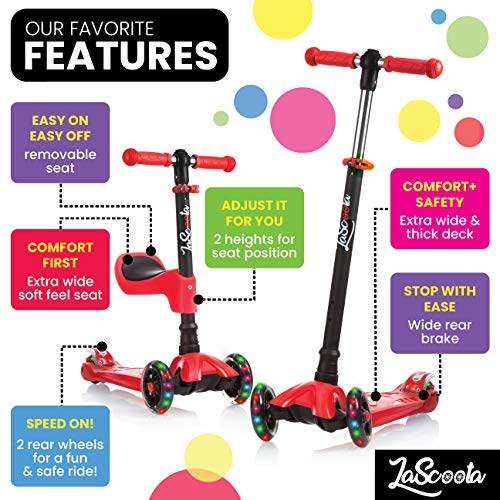 Lascoota 2-in-1 Kick for Seat Great for Kids & Toddlers Girls or Boys – w/Extra-Wide Deck Wheels for from 2 14