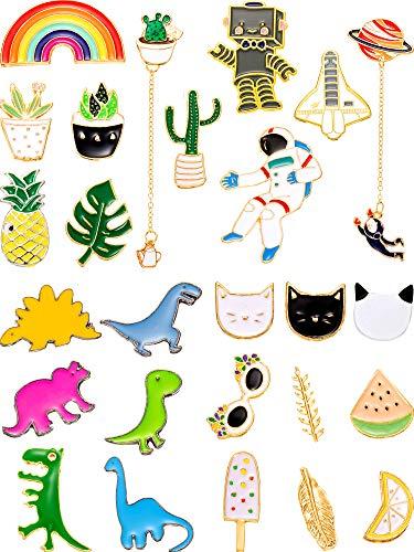 - Gejoy 26 Pieces Cute Brooch Pins Cartoon Enamel Pins Set Cute Brooch Lapel Badges for DIY Clothing Bags Backpacks Jackets Hat