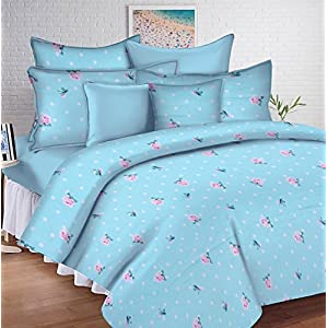 HUESLAND by Ahmedabad Cotton Comfort 144 TC Cotton King Size Bedsheet with 2 Pillow Covers (9ft x 9ft) – Blue & Pink