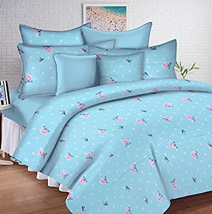 903cc1f8ea5 Buy Ahmedabad Cotton Comfort 144 TC Cotton Double Bedsheet with 2 Pillow  Covers - Blue and Pink Online at Low Prices in India - Amazon.in