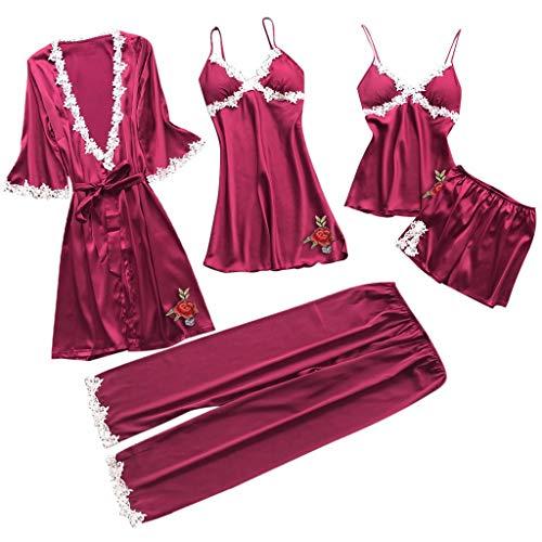 RAINED-Women Silk Pajamas Set Sexy Lace Lingerie Nightwear Underwear Babydoll Sleepwear Dress 5PC Suit ()