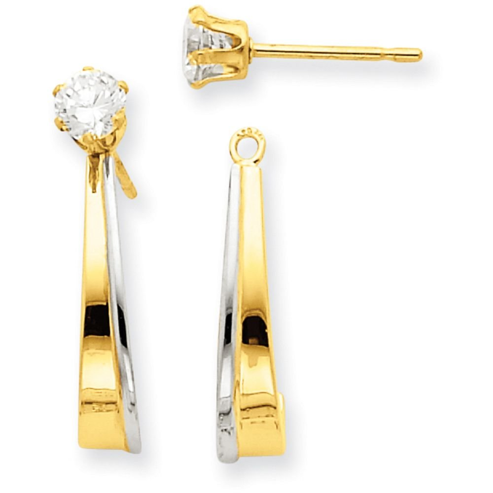 14k Gold Polished J-Hoop Jackets for Stud Earrings (0.87'' Height) - Rhodium-Plated-Yellow-Gold
