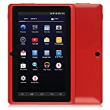 """SainSonic 7"""" inch A33 Quad Core Google Android 5.1 Lollipop Tablet PC, 512MB RAM 8GB Nand Flash, HD Display 1024*600 Resolution, Dual Camera, Bluetooth, Google Play Pre-loaded, 3D Game Supported, Red"""