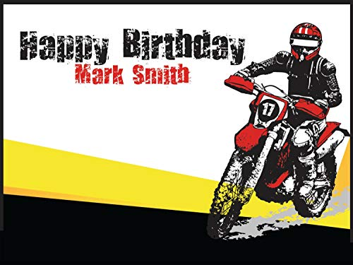Personalized MotoCross Backdrop, Dirt Bike Birthday Banner, Dirtbike Poster Custom Dirtbike Wall Decor for Birthday, Party Decoration - sizes 36x24, 48x24, 48x36 Handmade party Supplies, Dirtbike -