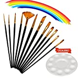 Katie Paint Brush Set 12 Pieces Watercolor Gouache Nylon Hair Brushes with 1 Piece Paint Tray Palette for School Student Gifts (Black)
