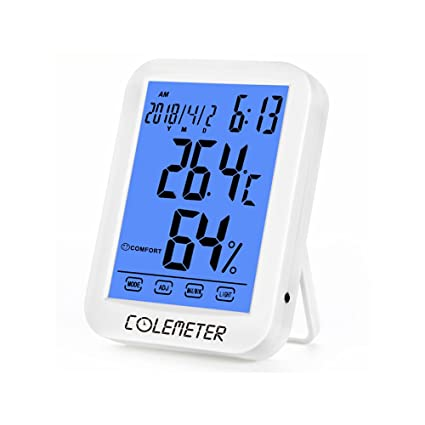 Termómetro Higrómetro Digital – Termómetro Higrómetro grande Touch pantalla de retroiluminación con reloj, medidor temperatura