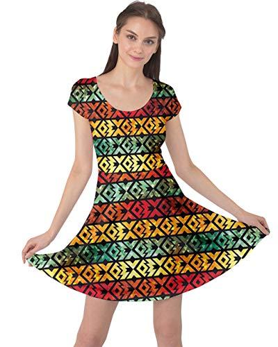 Triangle Cowcow Femmes Bijou Rétro Géométrique Abstrait Coloré Arc-court, Robe À Manches Xs-5xl Ancienne Géométrique