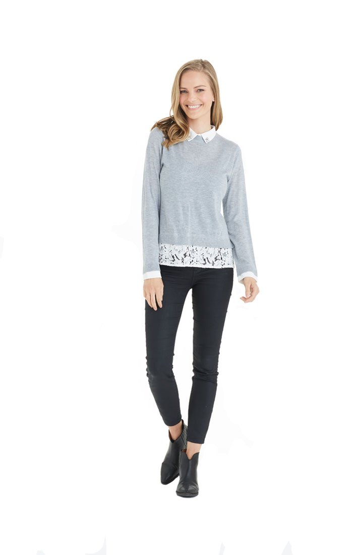 Love Token Amanda Rhinestone Sweater - LT77-48 (Small, Grey)