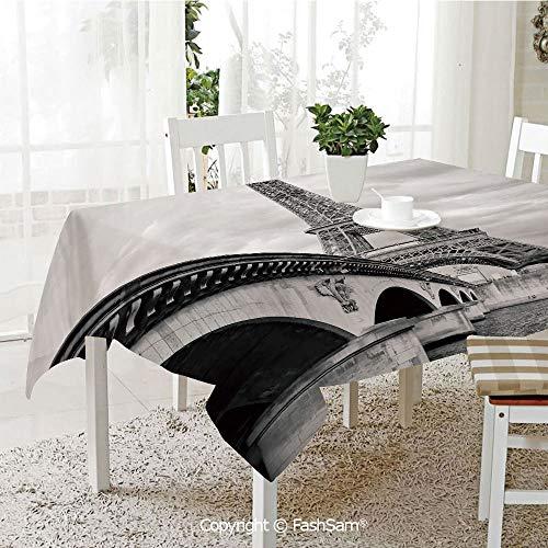 Premium Waterproof Table Cover Eiffel Tower Cloudy Sky