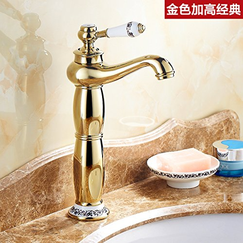 J LHbox Basin Mixer Tap Bathroom Sink Faucet The golden taps continental taps full copper bathroom American hot and cold bluee-tiled table top basin gold plated antique faucet,G