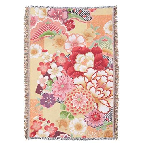 Zazzle Japanese Kimono Textile, Flower Throw