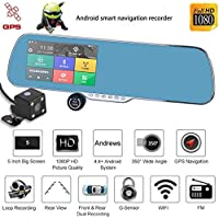 GBSELL Android Dual Lens 5 HD 1080P Car DVR GPS Navigation Rearview Mirror Camera Wifi