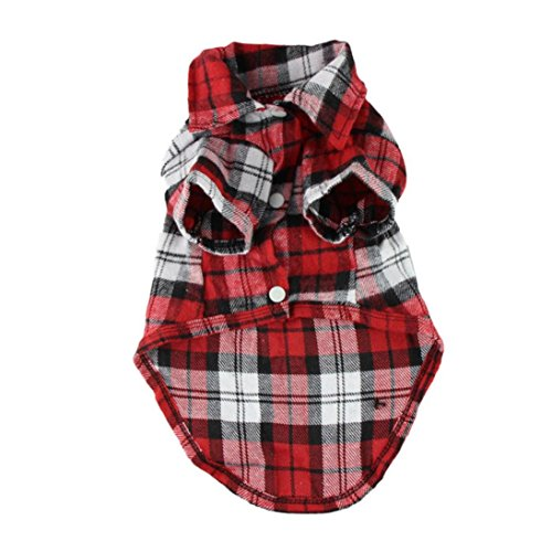 Image of OutTop Dog Clothes, Small Pet Checked Shirt Dress Shirt Coat Apparel (XS, Red.)
