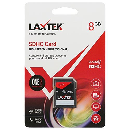 LAXTEK 8GB Ultra Class 10 SDHC UHS-I Ultra HD 4K Video High Performance SD Card