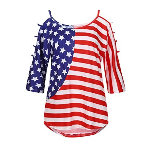 Aurorax 4th of July Women Shirts Plus Size, USA Flag Print Short Sleeve Cold Shoulder Tank Tops Summer Blouse (Hollowed Out, L/US (Garden Boxer Shorts)