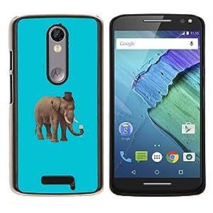 KLONGSHOP // Cubierta de piel con cierre a presión Shell trasero duro de goma Protección Caso - Hipster elefante - Motorola Moto X3 3rd Generation //