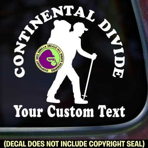 Continental Divide Trail Hiker CUSTOM COLOR and WORDS Hiking Vinyl Decal Sticker E