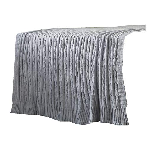 (iSunShine Cotton Knitted Cable Throw Soft Warm Cover Blanket Cable Knitting Pattern, Large 70 by 78 Inches,)