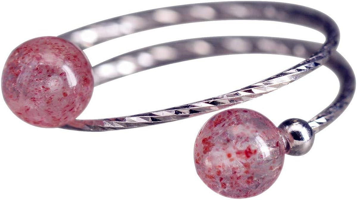 Nico de mujer plata anillo de cuarzo rosa de piedra de plata de ley 925Bola con color rosa brillante ajustable abierto sri342