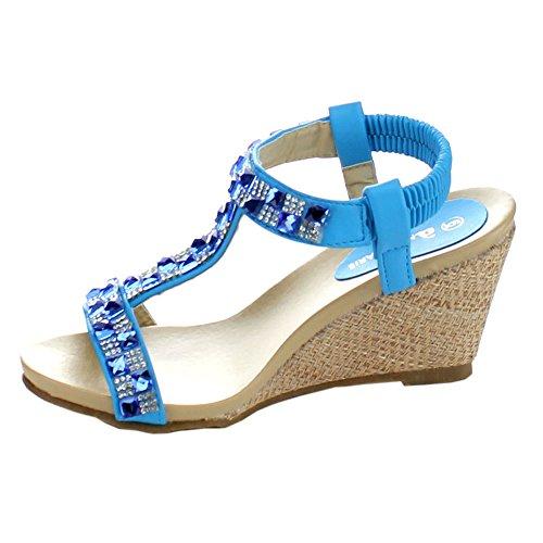 Bellamarie Jenifer-2 Femmes Strass Sangle Élastique T-strap Slip Sur Sandale Compensée, Couleur: Bleu Glacier, Taille: 6.5
