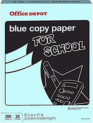 Office Depot Colored Copy Paper, Blue, 8 1/2 Inch x 11 Letter Size, 20 lb., 300 Sheets Pack (372-319) by Office Depot