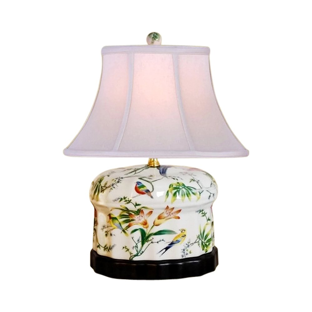 Chinese Porcelain Round Box Floral Motif Table Lamp 15''
