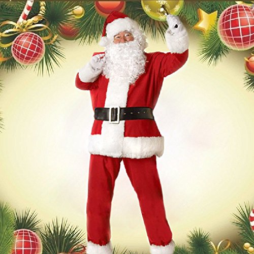 Christmas Adult Santa Claus Father Suit Costume Set Outfit Deluxe Fancy Dress