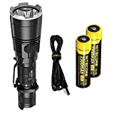 Nitecore MH27UV 1000 Lumen Rechargeable LED Flashlight with White, Red, Blue, and UV Lights, Two Rechargeable Batteries and LumenTac Adapters