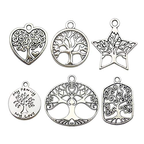 Youdiyla 60 PCS Silver Tree of Life Charms Collection, Mix Round Five-Pointed Star Oval Charms Metal Pendant Supplies Findings for Jewelry Making (HM147) (Goddess Jewelry Pendant)