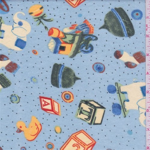 Cloud Blue Multi Baby Toy Flannel, Fabric by The Yard - Flannel Fabric Bolt