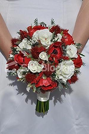 Rouge Rubis Chardon Ecossais Et Blanc Roses Anemones De
