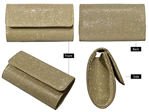 Outrip Purse Glitter Evening Wedding Bag Gold Chain Clutch Handbag Party with Women's xn1nwUHgR