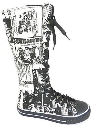 Nuova Moda Donna Tela Lace Up Metà Polpaccio Ginocchio Alta Multi Colore Sneakers Avvio Scarpe Nero Yb-239