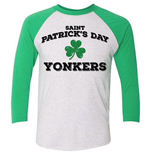 ShirtScope ST Patrick's Day Yonkers NY Baseball Raglan Shirt - Ny Yonkers Woman To Woman