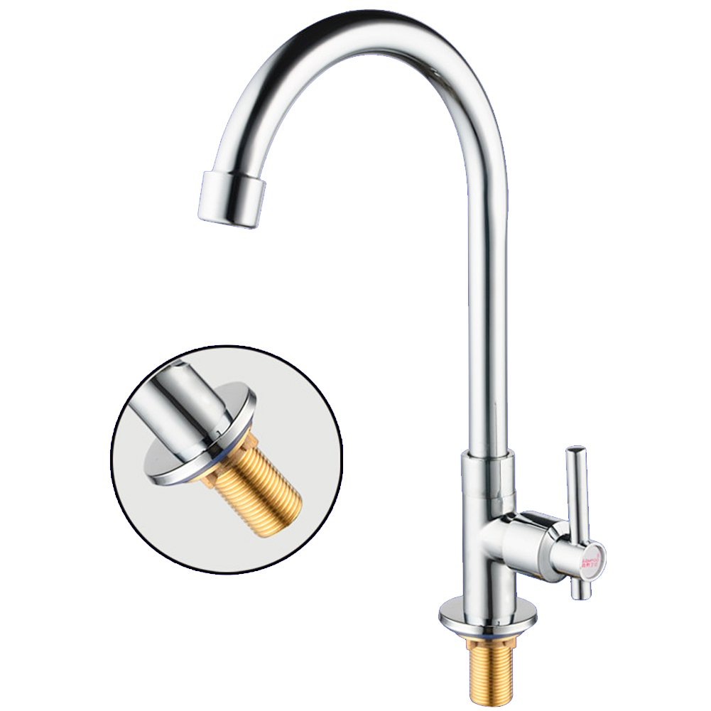 Ibnotuiy Single Handle Swivel Round Vertical Sink Faucet Plating Chrome Cold Water Single Hole Kitchen Faucets with Pipe (Brass)