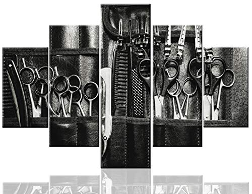 Pictures for Living Room Haircut Tools Wall Art Hair Salon Paintings Multi Panel Abstract Printed on Canvas Black and…