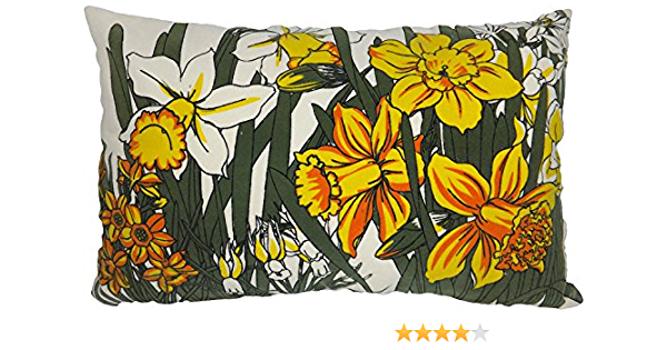 Amazon Com Blue Dolphin Decorative 20 X12 Printed Daffodil Floral Throw Pillow Cover Yellow Home Kitchen