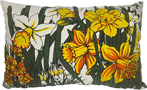 """Decorative 20""""x12"""" Printed Daffodil Floral Throw Pillow Cove"""