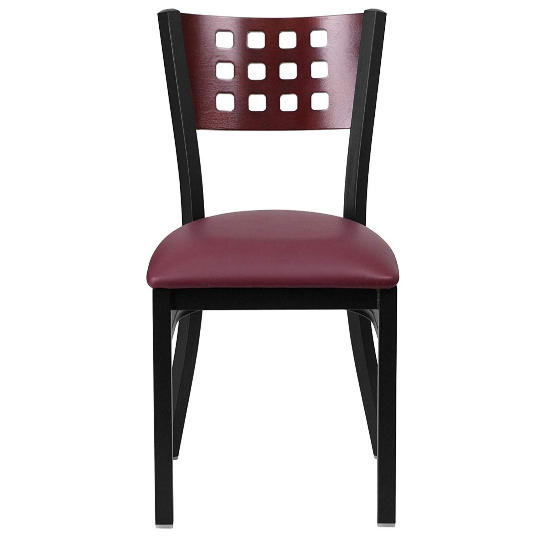 Modern Style Metal Dining Chairs Bar Restaurant Commercial Seats Mahogany Wood Cutout Back Design Black Powder Coated Frame Home Office Furniture - (1) Burgundy Vinyl Seat #2206 by KLS14 (Image #4)