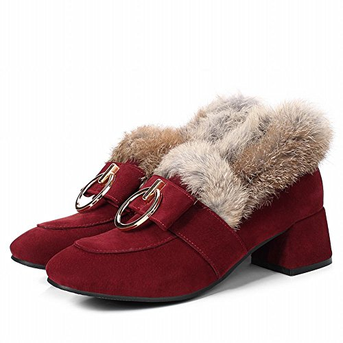 Latasa Dames Faux Fur Chunky Heel Winter Loafers Claret-rood