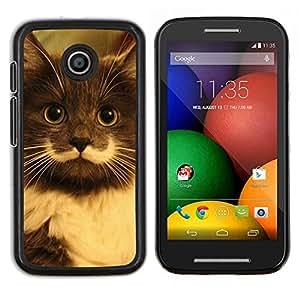 TECHCASE---Cubierta de la caja de protección para la piel dura ** Motorola Moto E ( 1st Generation ) ** --Hamilton Hipster Cat bigote de pelo largo