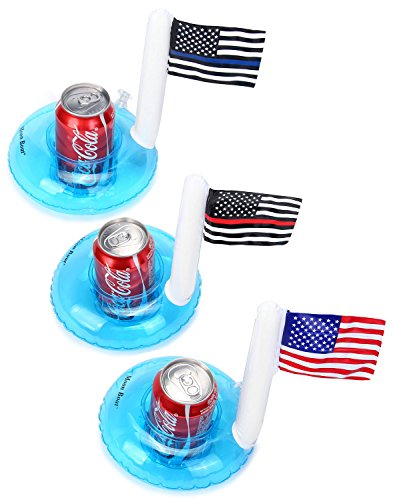 Moon Boat Inflatable Patriotic Pool Drink Holders - Fourth of July Party Supplies - American Flag Cupholder]()