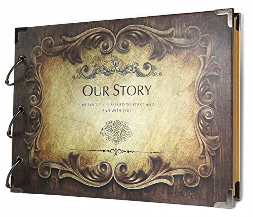 SiCoHome Scrapbook Album Our Story with Scrapbooking Storage Box and